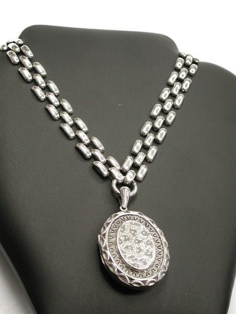 Antique Victorian Silver Locket  with original Silver Chain