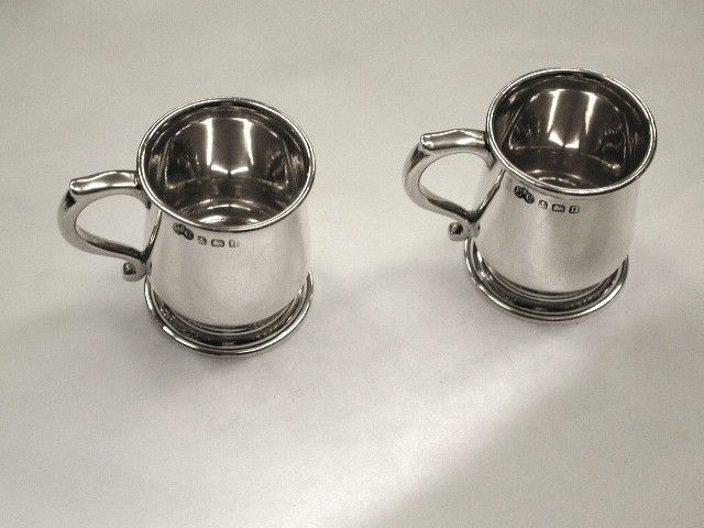 Pair of Antique  Elkington and Co Silver Miniature Tankards