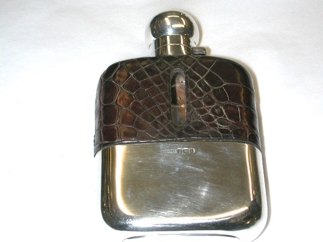 Antique Silver Topped Glass and Crocodile Flask