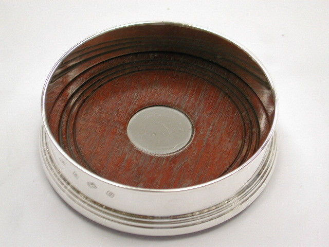 Silver Wine Coaster with Rosewood Base