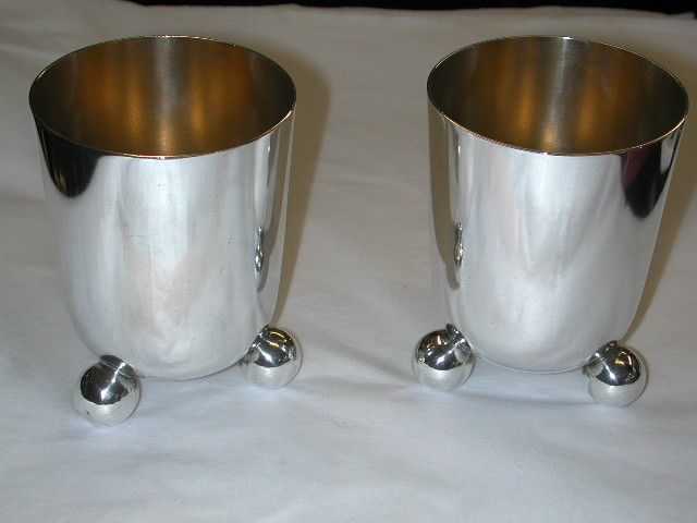 Pair of Victorian Silver Plated Beakers on Ball Feet