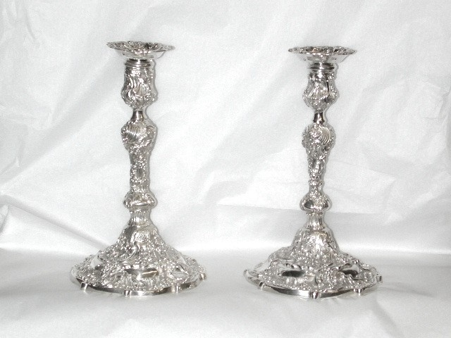 Pair of Rococo Style Cast  Silver Candlesticks