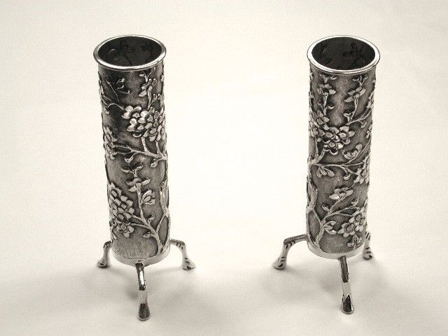 Pair of Chinese Silver Spill Vases decorated with Prunus Blossom